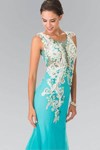 Elizabeth K GL2318 Cascading Floral Embroidery Tulle Mermaid Dress in Aqua - pallawashop.com