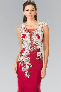 Elizabeth K GL2318 Cascading Floral Embroidery Tulle Mermaid Dress in Burgundy