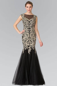 Elizabeth K GL2319 Full Jewled and Embroidered Tulle Mermaid Dress in Black