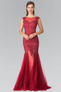 Elizabeth K GL2319 Full Jewled and Embroidered Tulle Mermaid Dress in Red - SohoGirl.com
