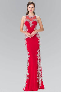 Elizabeth K GL2320 Open Back Side Embroidery Long Dress in Red
