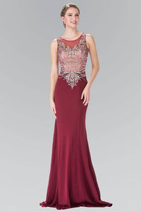 Elizabeth K GL2323 Silver and Gold Embroidered Long Dress in Burgundy