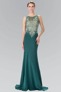 Elizabeth K GL2323 Silver and Gold Embroidered Long Dress in Green - SohoGirl.com
