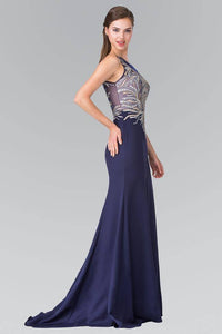 Elizabeth K GL2323 Silver and Gold Embroidered Long Dress in Navy - SohoGirl.com