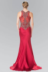 Elizabeth K GL2325 Bead Embellished Sheer Bodice Dress in Burgundy - SohoGirl.com