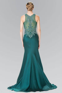 Elizabeth K GL2325 Bead Embellished Sheer Bodice Dress in Green - pallawashop.com