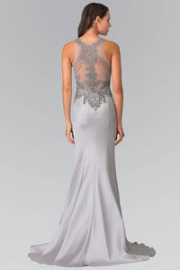 Elizabeth K GL2325 Bead Embellished Sheer Bodice Dress in Silver - SohoGirl.com