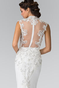 Elizabeth K GL2326 Beads Embellished Embroidery Jersey Wedding Dress with Sheer Back In Ivory - SohoGirl.com