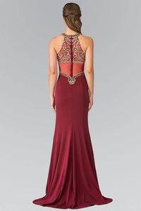 Elizabeth K GL2328 Beaded Halter Top with Sheer Back Mermaid Dress in Burgundy
