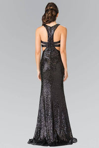 Elizabeth K GL2333 Full Sequin Mock Two Piece Long Dress with Cut Outs in Black
