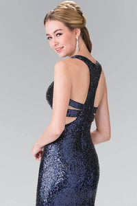 Elizabeth K GL2333 Full Sequin Mock Two Piece Long Dress with Cut Outs in Navy