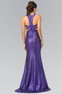 Elizabeth K GL2333 Full Sequin Mock Two Piece Long Dress with Cut Outs in Purple - SohoGirl.com
