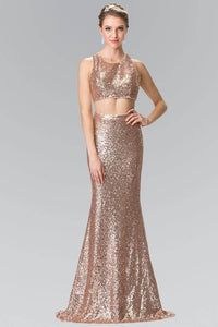 Elizabeth K GL2333 Full Sequin Mock Two Piece Long Dress with Cut Outs in Rose Gold - SohoGirl.com