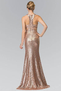 Elizabeth K GL2333 Full Sequin Mock Two Piece Long Dress with Cut Outs in Rose Gold
