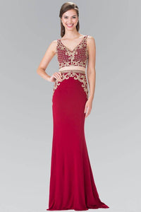Elizabeth K GL2334 Baroque Embroidered Mock Two Piece Long Dress in Burgundy - SohoGirl.com