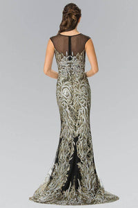 Elizabeth K GL2336 Shattered Full Beaded Long Dress in Black - SohoGirl.com