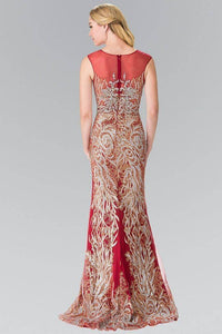 Elizabeth K GL2336 Shattered Full Beaded Long Dress in Burgundy