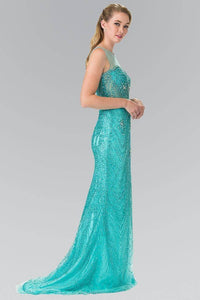 Elizabeth K GL2337 Full Beaded Sheer Bodice in Tiffany - pallawashop.com