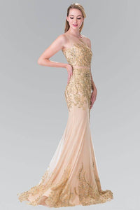 Elizabeth K GL2338 Mock Two Piece Gold Threaded Embroidered Dress in Champagne - SohoGirl.com