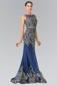 Elizabeth K GL2338 Mock Two Piece Gold Threaded Embroidered Dress in Navy - pallawashop.com