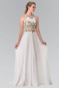 Elizabeth K GL2340 Mock Two Piece A-Line Halter Dress in Off White - SohoGirl.com
