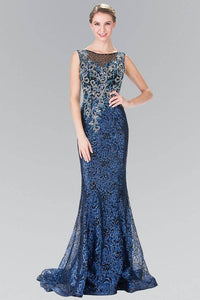 Elizabeth K GL2341 Floral Bead Embroidered Sequin Dress Navy - SohoGirl.com