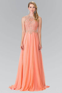 Elizabeth K GL2343 Bead Embellished Draped Long Gown in Coral