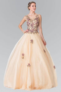 Elizabeth K GL2346 Floral Embroidered Corset Ball Gown in Champagne - pallawashop.com
