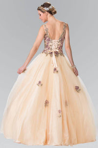 Elizabeth K GL2346 Floral Embroidered Corset Ball Gown in Champagne