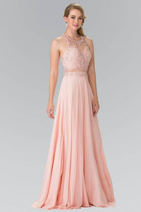 Elizabeth K GL2347 Beaded Mock Two Piece with Open Back in Blush - SohoGirl.com