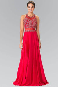 Elizabeth K GL2347 Beaded Mock Two Piece with Open Back in Red - pallawashop.com
