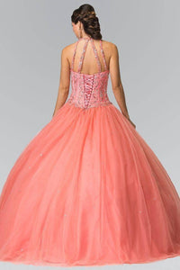 Elizabeth K GL2348 Beaded Halter Corset Quinceanera Dress in Coral