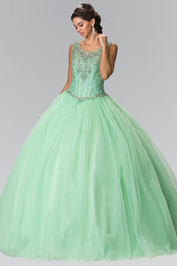 Elizabeth K GL2349 Beads Embellished Quinceanera Dress In Mint - SohoGirl.com