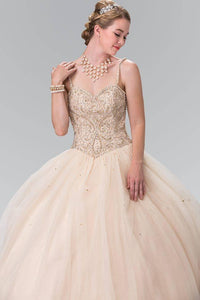 Elizabeth K GL2350 Sweetheart Beaded Strap Quinceanera Dress in Champagne - SohoGirl.com
