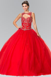 Elizabeth K GL2351 Cut-Out Neck and Beads Embellished Top Quinceanera Dress with Corset Back In Red - SohoGirl.com