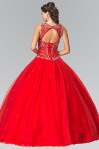 Elizabeth K GL2351 Cut-Out Neck and Beads Embellished Top Quinceanera Dress with Corset Back In Red