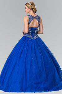 Elizabeth K GL2351 Cut-Out Neck and Beads Embellished Top Quinceanera Dress with Corset Back In Royal Blue - SohoGirl.com
