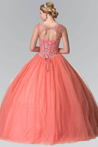 Elizabeth K GL2352 Beaded Bodice with Cut Out Back Quinceanera Dress in Coral - SohoGirl.com