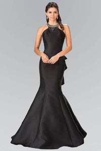 Elizabeth K GL2353 Beaded Collar Mermaid Gown in Black - SohoGirl.com