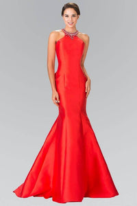 Elizabeth K GL2353 Beaded Collar Mermaid Gown in Red - pallawashop.com