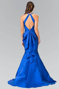 Elizabeth K GL2353 Beaded Collar Mermaid Gown in Royal Blue - SohoGirl.com