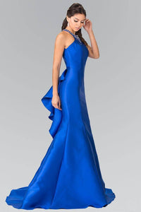 Elizabeth K GL2353 Beaded Collar Mermaid Gown in Royal Blue