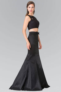 Elizabeth K GL2354 Two Piece Dress with Lace Top and Ribbon Accent in Black - pallawashop.com