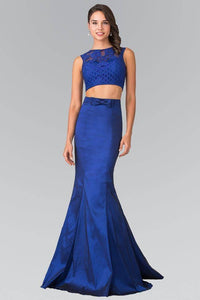Elizabeth K GL2354 Two Piece Dress with Lace Top and Ribbon Accent in Navy - pallawashop.com