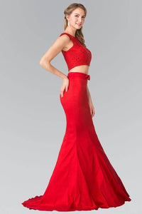 Elizabeth K GL2354 Two Piece Dress with Lace Top and Ribbon Accent in Red - SohoGirl.com
