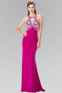 Elizabeth K GL2355 Bead Embellished Diamond Cut Outs Long Dress in Magenta