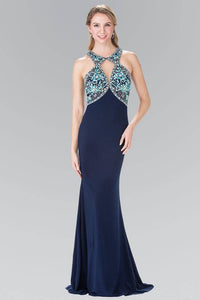 Elizabeth K GL2355 Bead Embellished Diamond Cut Outs Long Dress in Navy