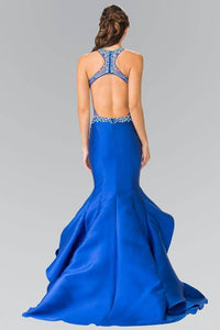 Elizabeth K GL2357 Bead Embellished Long Ruffled Mermaid Dress in Royal Blue