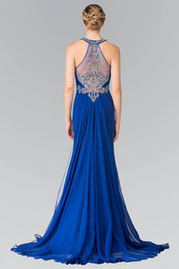 Elizabeth K GL2358 Multi Colored Beaded Bodice with Chiffon Tail in Royal Blue