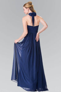 Elizabeth K GL2362 Belted Halter Long Dress in Navy - pallawashop.com
